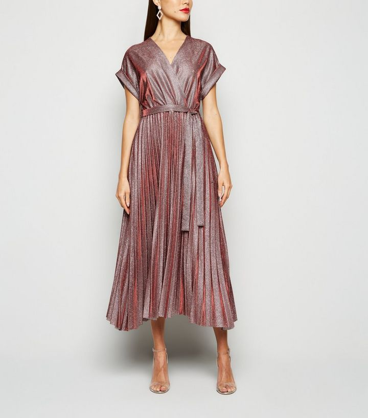 burgundy-glitter-pleated-wrap-dress