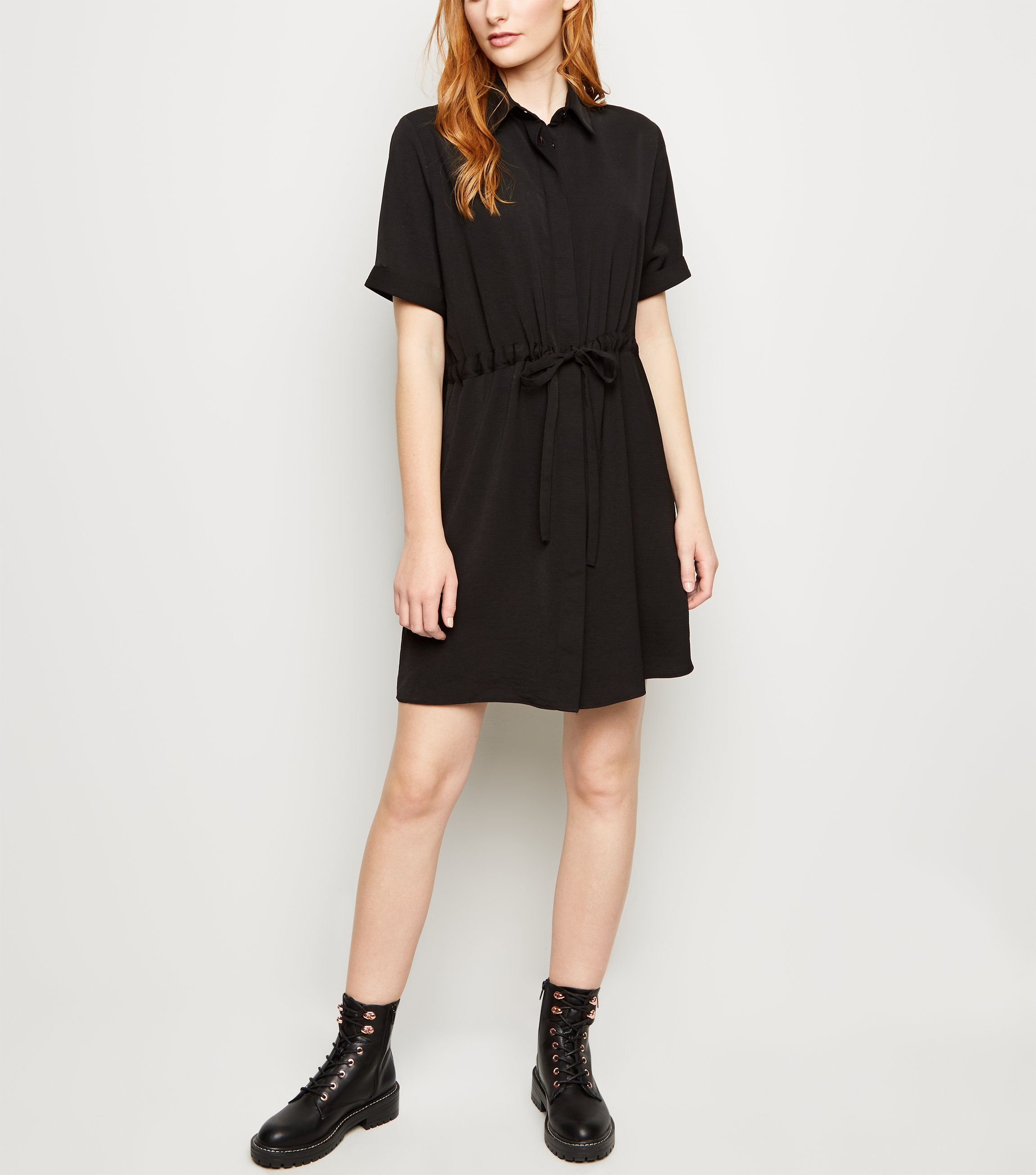 new look Black Twill Drawstring Waist Shirt Dress