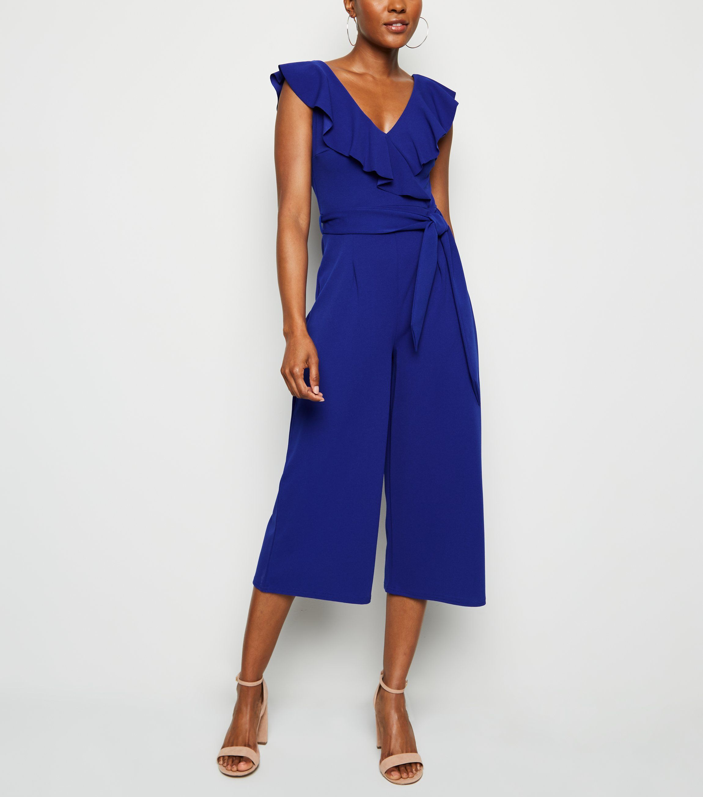 new look blue-frill-belted-wide-leg-jumpsuit