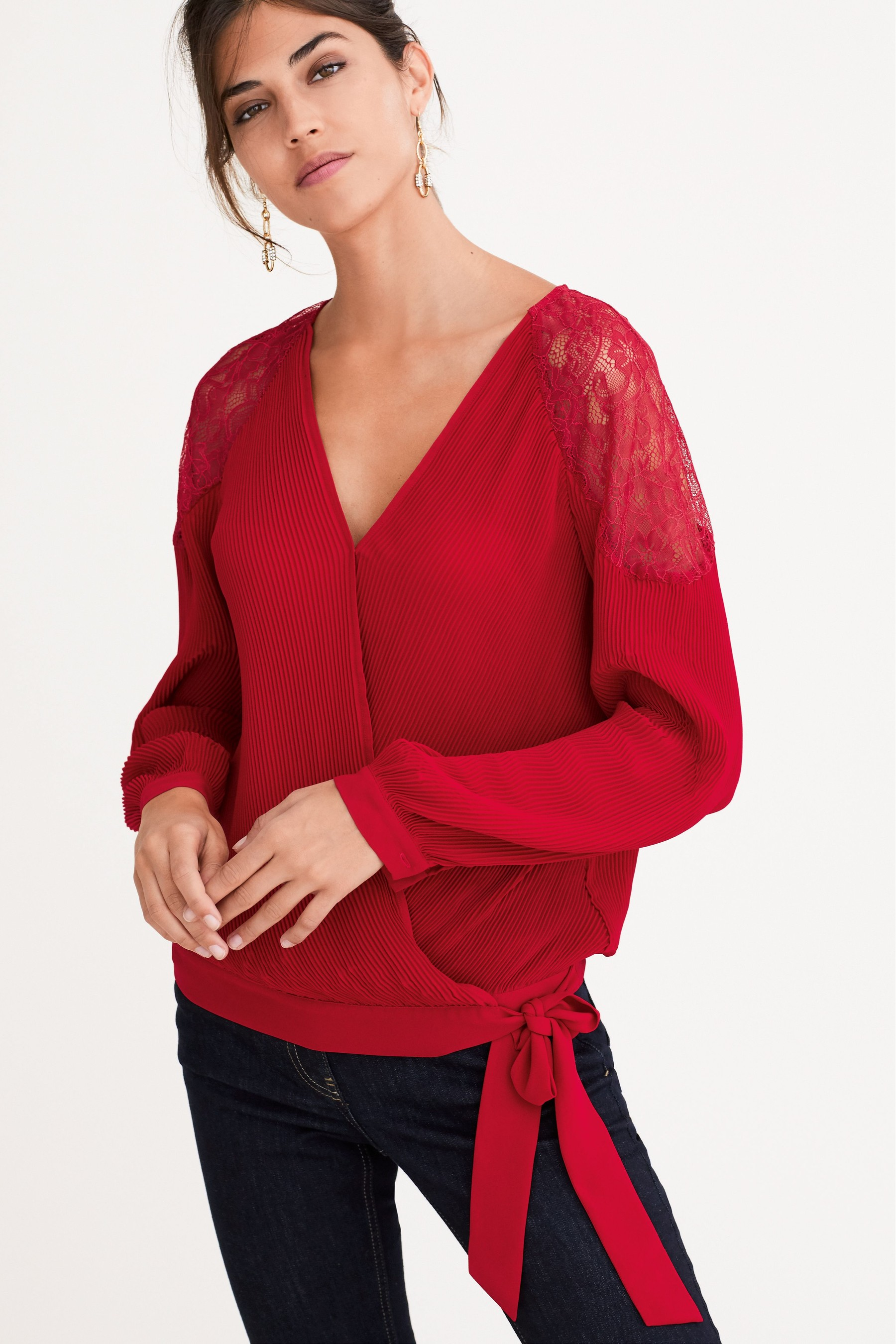 next red lace insert top