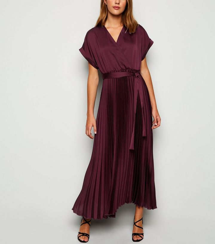 plum-satin-pleated-midi-dress