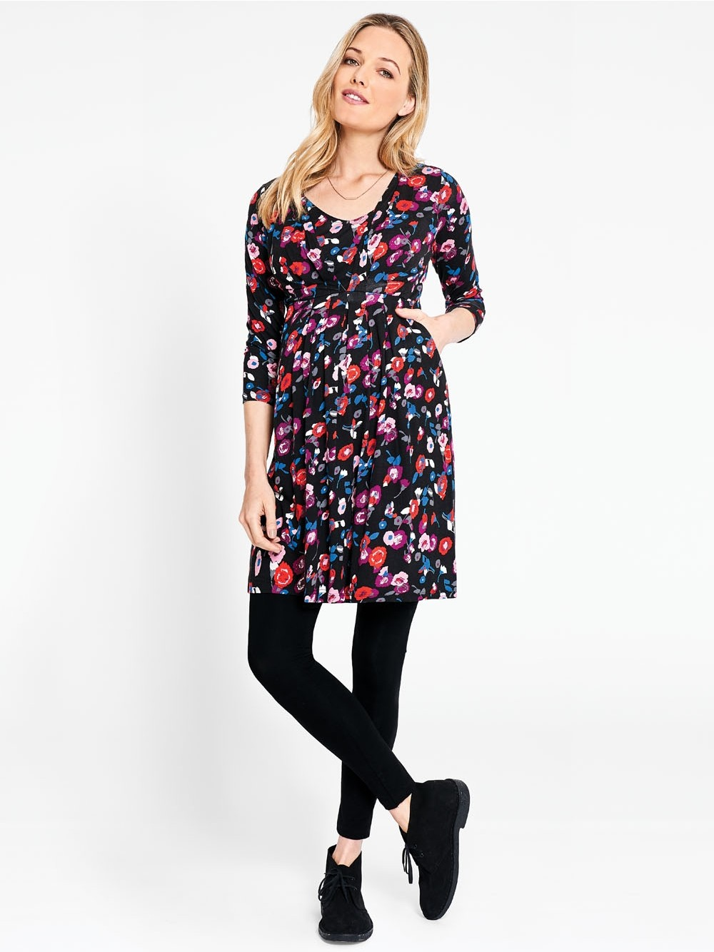 Jojo Blurred Floral Pleated Maternity & Nursing Tunic Dress