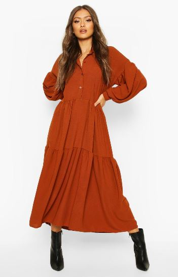 boohoo oversized tiered mqxi