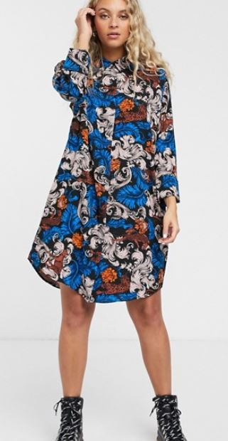 monki shirt dress floral
