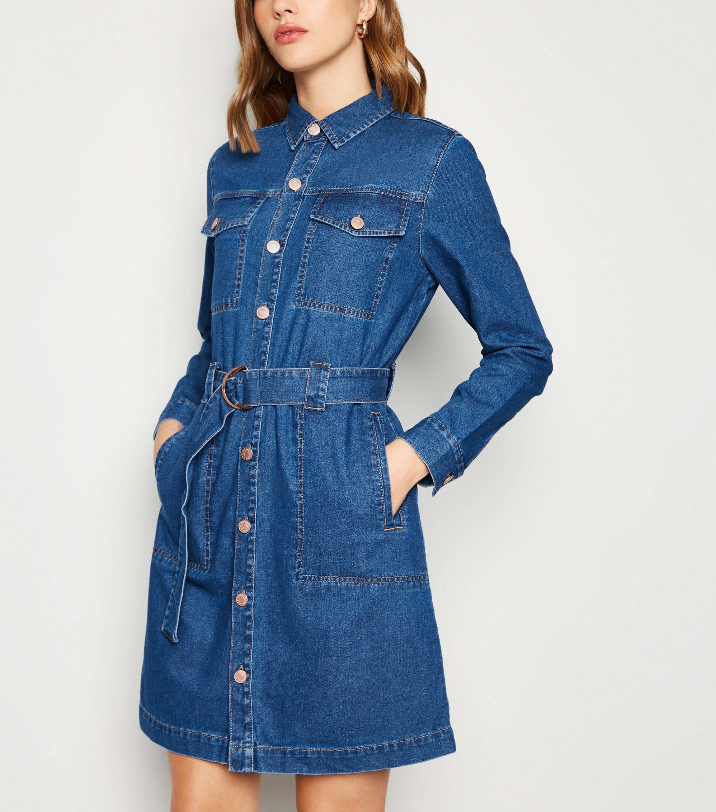 new look blue-denim-tie-waist-shirt-dress