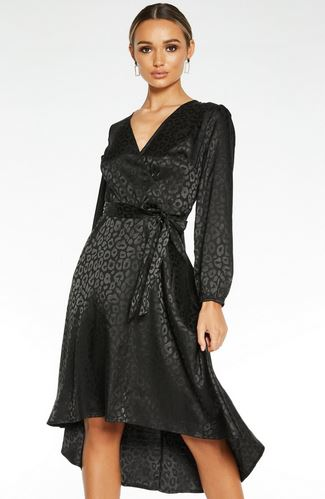 quiz leopard satin dress