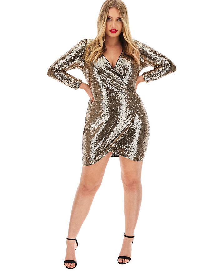 simply be gold sequin wrap dress