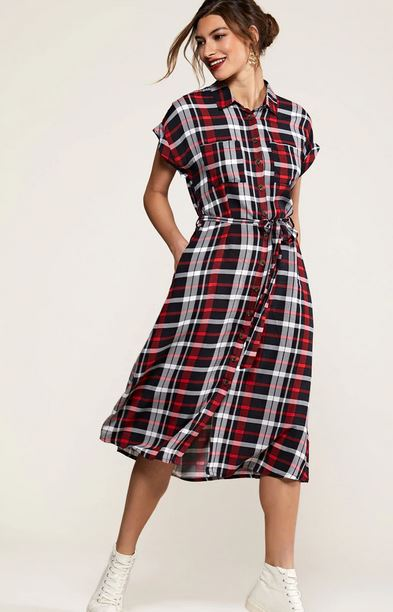 yumi check dress