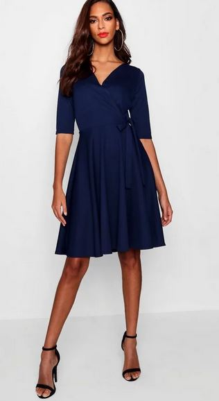 boohoo tall wrap and skater dress