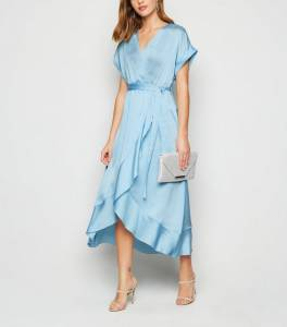 pale-blue-satin-ruffle-trim-midi-wrap-dress